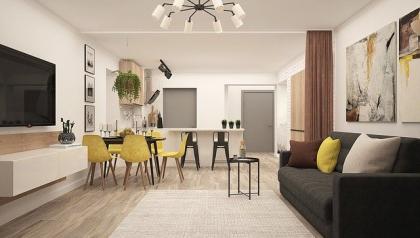 Salon w stylu klasycznym o charakterze nowoczesnym